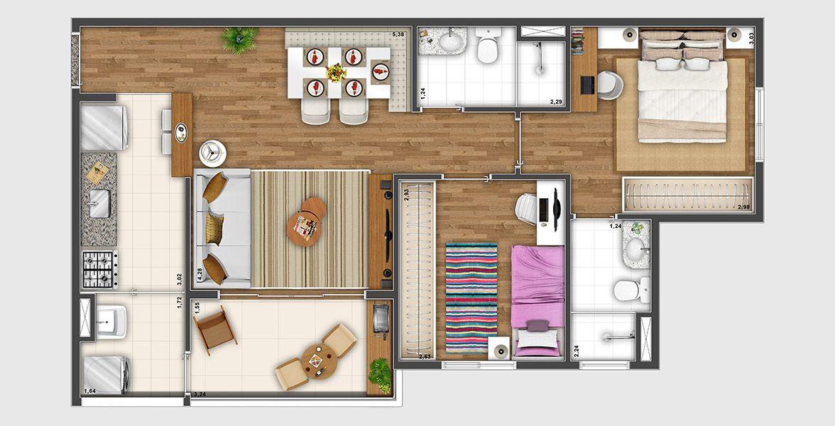 63 M² - 2 DORMS., SENDO 1 SUÍTE. Apartamento com 2 dormitórios, sendo uma suíte para o casal, com banheiro com ventilação natural e ampla janela com persiana de enrolar. O terraço tem abertura para a área da cozinha, deixando o espaço social bem fluída.