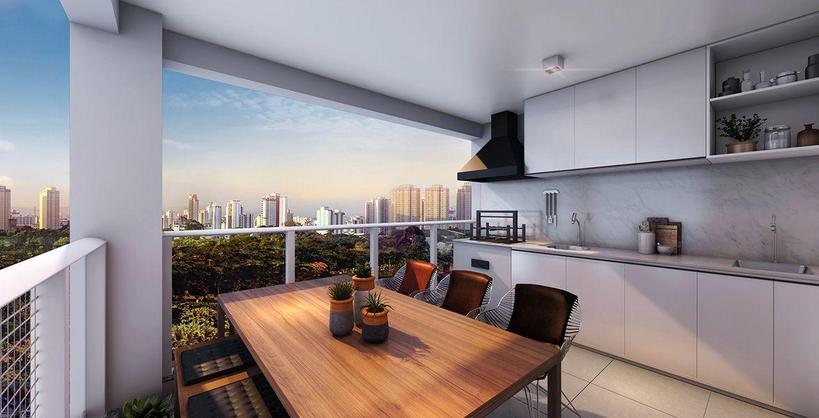 TERRAÇO GOURMET em L do apto de 47 m² com churrasqueira do Arte Arquitetura Moema