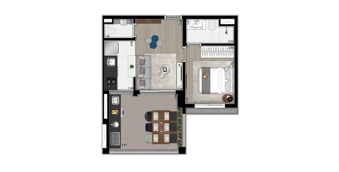 Planta do Arte Arquitetura Moema. 47 M² - 1 SUÍTE. Apartamento em Moema com uma suíte, living com lavabo e um amplo terraço gourmet em L com churrasqueira e piso elevado, o grande destaque do apto.