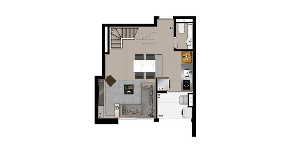 Planta do Madrigal Alto de Pinheiros. 79 M² - 2 SUÍTES. Duplex inferior com living integrado à cozinha, trazendo-a para a área social e com apoio de lavabo. A bancada da cozinha é estendida, possibilitando fogão embutido. 2 vagas + depósito privativo.
