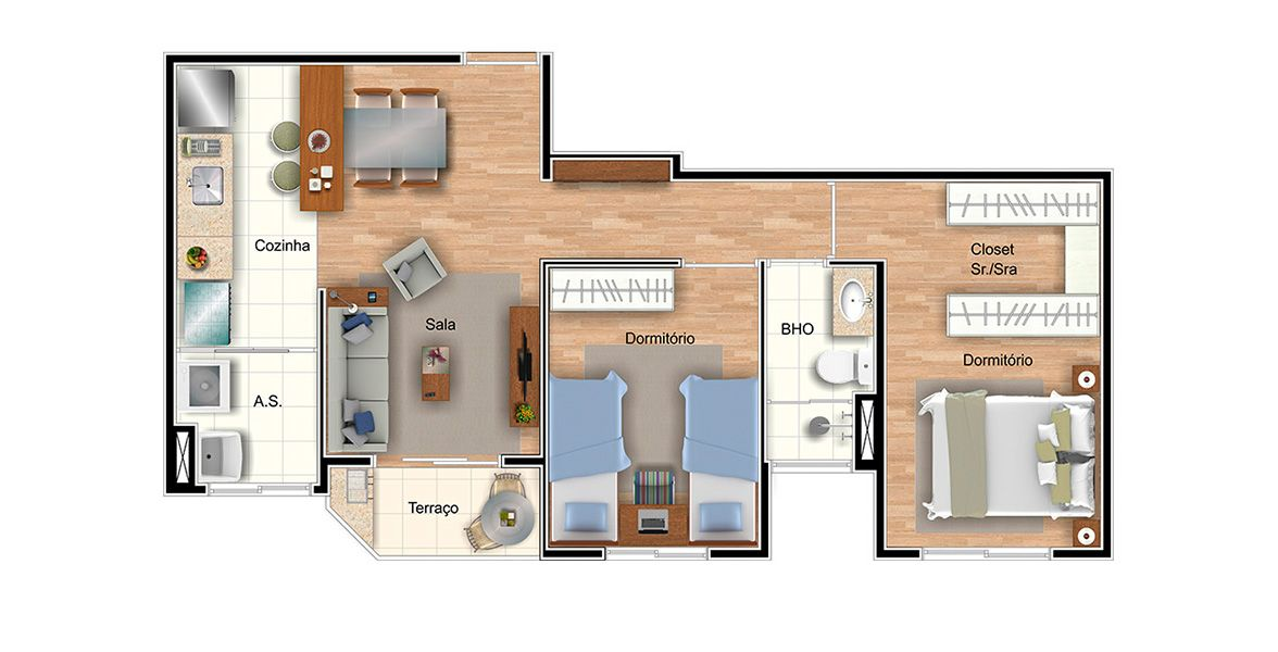 Planta do Piemonte Residencial Club. floorplan