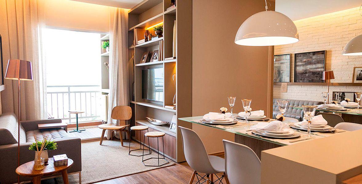 SALA do apto de 57 m² com ótima sugestão de sala de jantar integrada à cozinha.