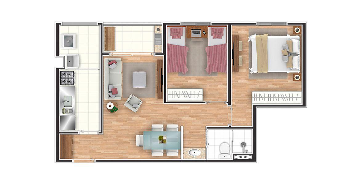 52 M² - 2 DORMS. Apartamento na Vila Tijuco com 2 dormitórios e banheiro com cuba externa, proporcionando muita praticidade, principalmente ao receber os amigos, ao lado da sala de jantar.
