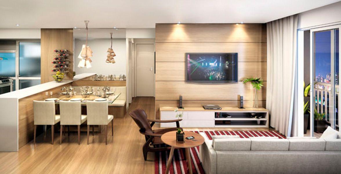 LIVING do apto de 67 m² com cozinha americana, deixando o apto com maior amplitude do Harmonia Jabaquara