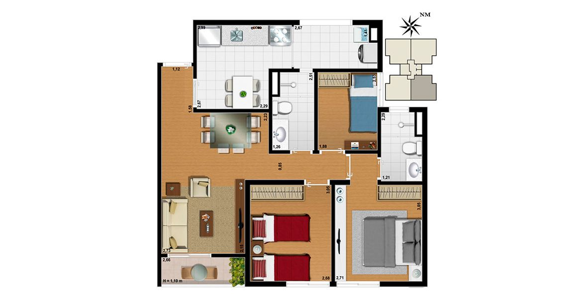 Planta do Harmonia Jabaquara. floorplan