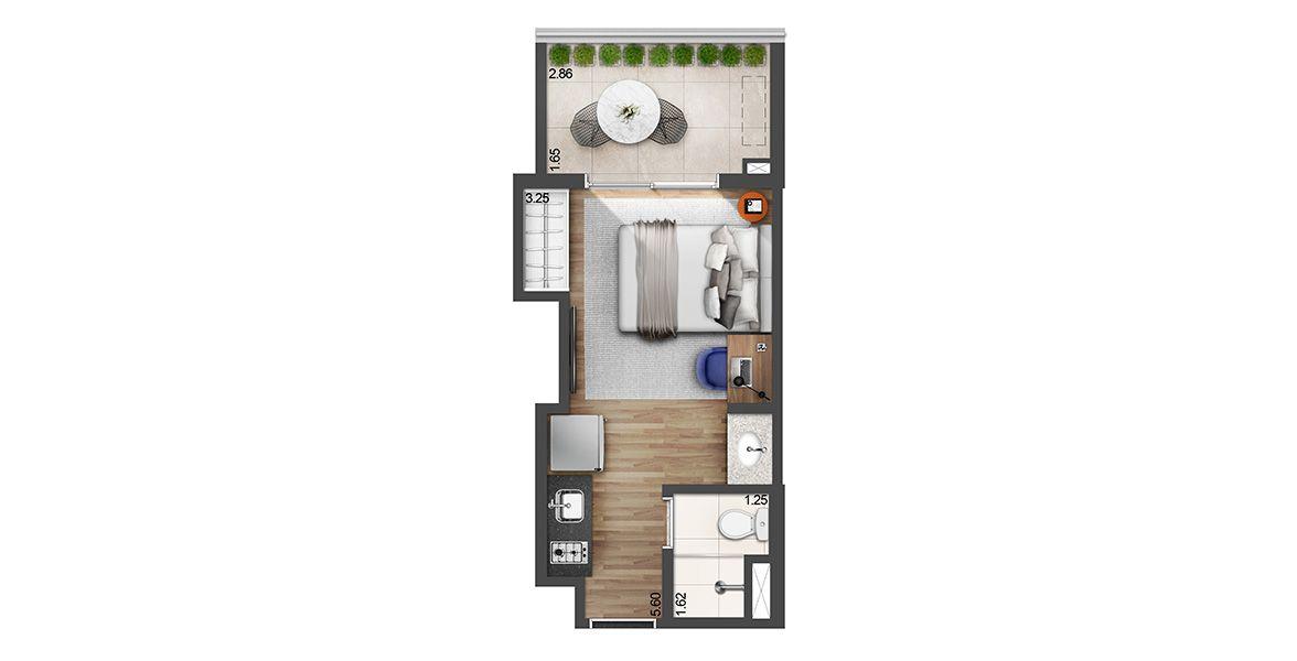 Planta do E Side. 23 M² - STUDIO. Studios na Vila Madalena com área cativa para área da cozinha e armários, além de um ótimo terraço com 2,8 m de frente. A bancada do banheiro é externa, uma solução muito útil para o dia a dia.