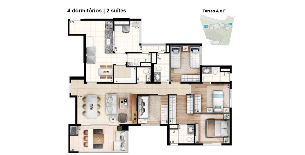 129 M² - 4 DORMS., SENDO 2 SUÍTES. Apartamento no Morumbi com 4 dormitórios para grandes famílias. Tem o living muito bem integrado ao terraço gourmet entregue com churrasqueira devido às amplas portas de vidro. Tem entrada social e de serviço separada.