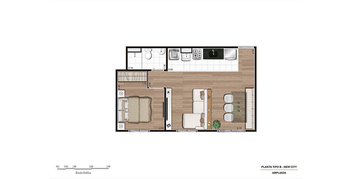 Planta do New City 2. 40 M² - 1 DORM. Apartamento em Pirituba com sala ampliada e cozinha integrada. Como a planta não tem varanda, consegue ter sala bem confortável. Ótimos preços e condições de pagamento!