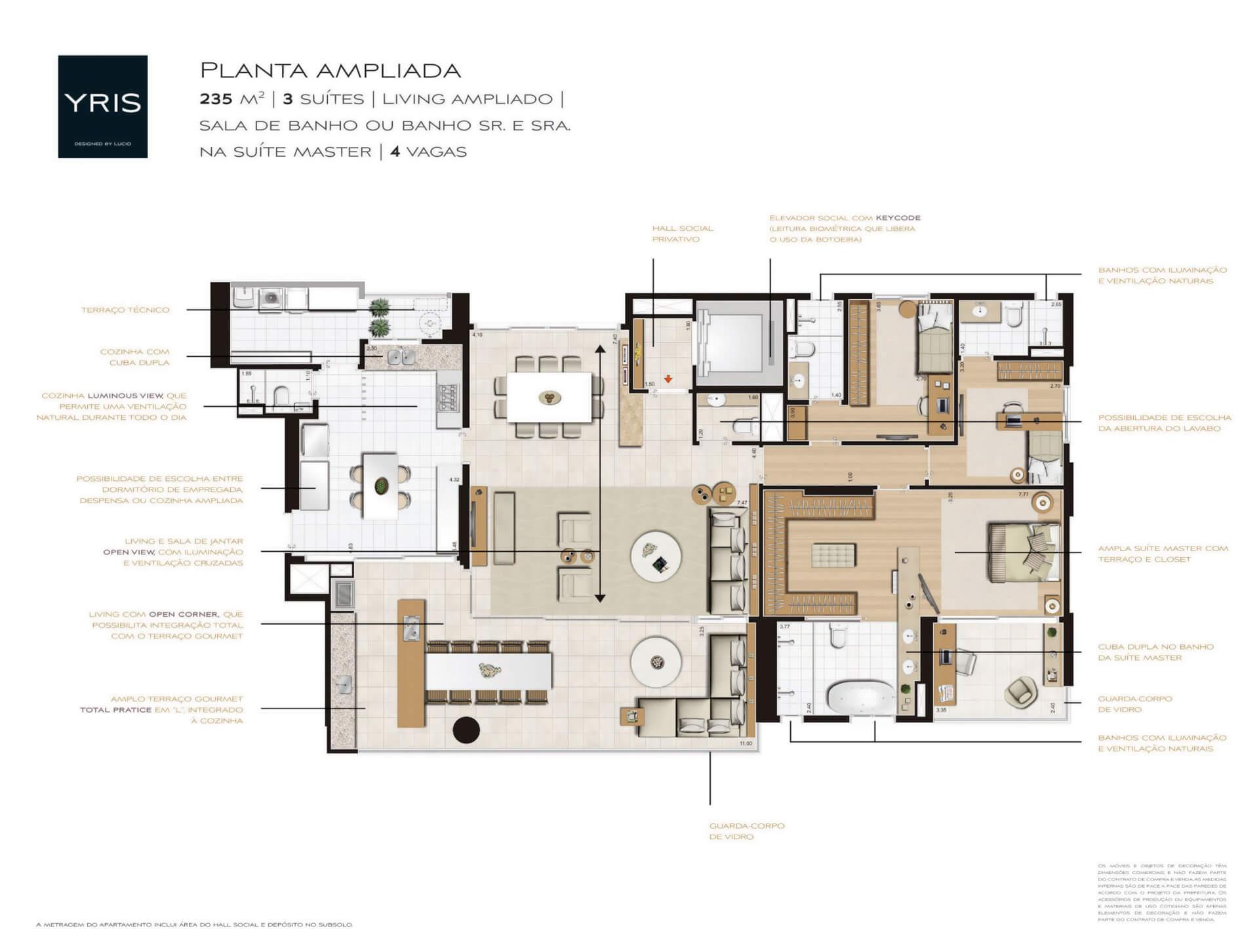 235 M² - 3 SUÍTES. Apartamentos amplos e com ótima setorização entre área social e área íntima dos dormitórios. Destaque para a cozinha ampliada e para os espaçosos dormitórios, infraestrutura completa para famílias que possuem 5 ou mais integrantes!