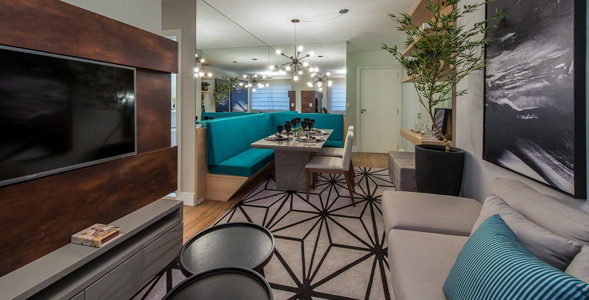 LIVING do apto de 59 m² com pouco mais de 6 metros proporcionando uma ótima integração nos ambientes do Flex Santana