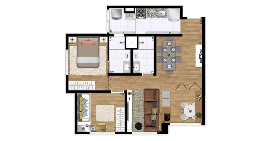Planta do Flex Santana. 59 M² - 2 DORMITÓRIOS, SENDO 1 SUÍTE. Apartamento em Santana, com living ampliado, integrando a sala de jantar e estar, criando uma excelente área social.