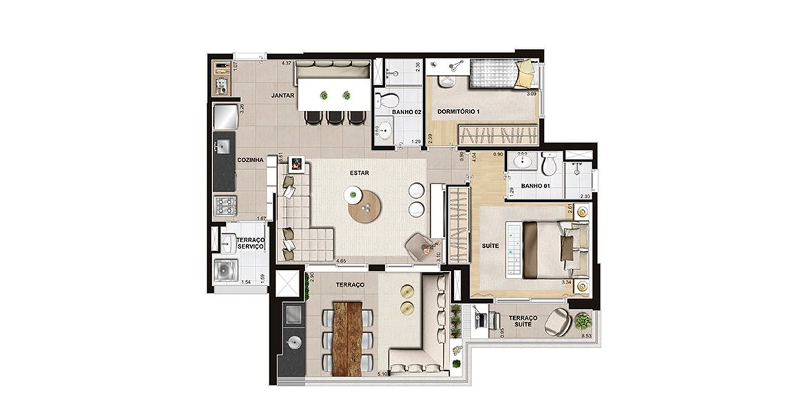 Planta do Unità Jd. Prudência. floorplan