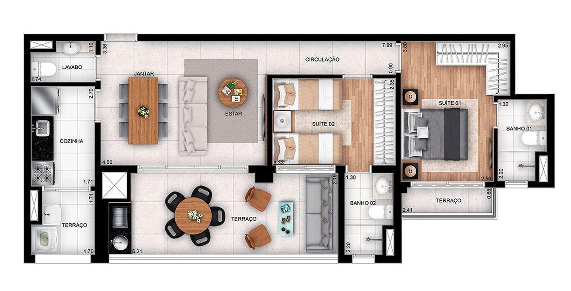 80 M² - 2 SUÍTES. Apartamentos de 2 suítes no Tatuapé, com terraço gourmet com mais de 6 metros de frente, entregue com churrasqueira integrado ao living. Destaque para a suíte do casal integrada ao terraço.