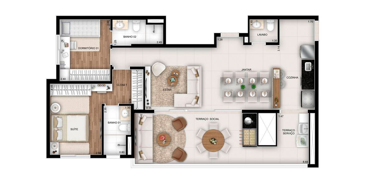 Planta do The Address. floorplan