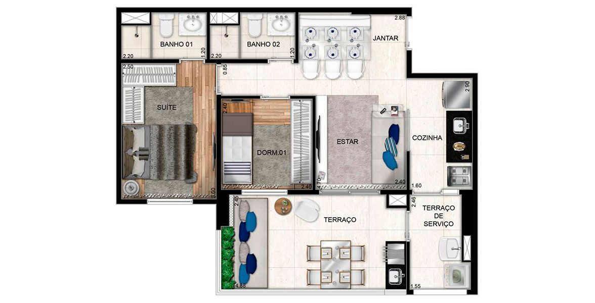 Planta do Reserva Vila Ema. floorplan