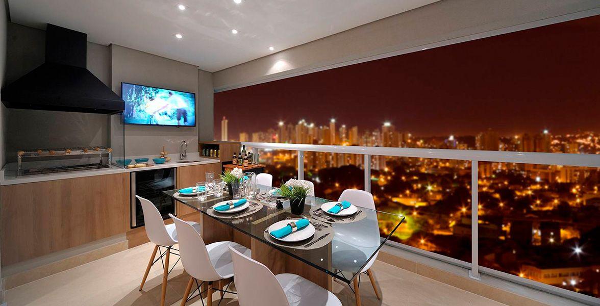 TERRAÇO gourmet com churrasqueira do apto decorado de 127 m² do Landscape Tatuapé