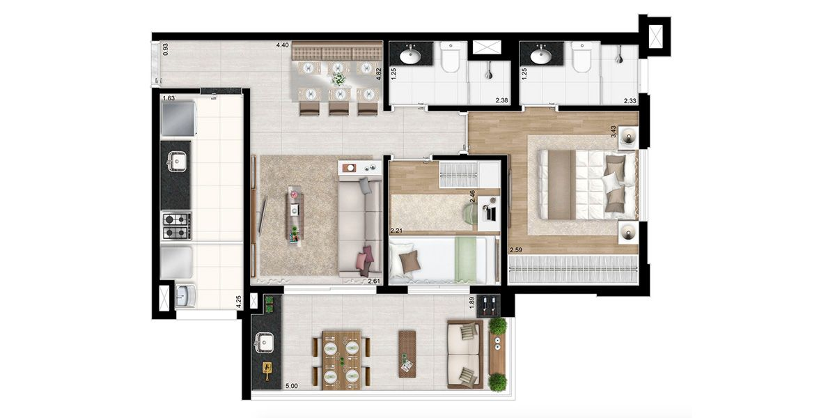 Planta do Ideal Klabin. floorplan