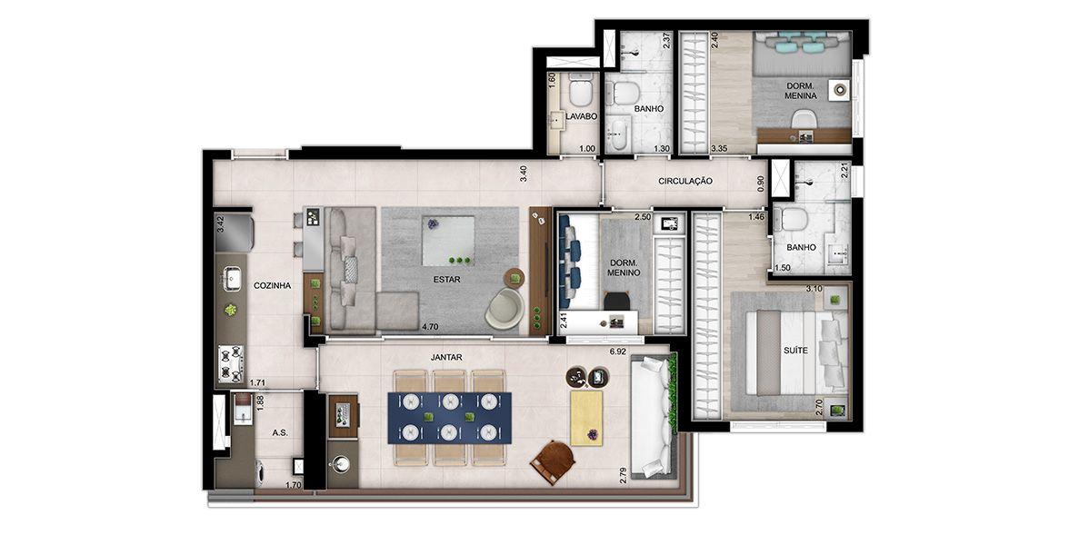 95 M² - 3 DORMS., SENDO 1 SUÍTE. Apartamento na Vila Olímpia c/ living, cozinha americana, lavabo, amplo terraço entregue c/ ponto grill, tv, terraço técnico, bancada em granito, cuba e metal. Além de passagem íntima e gourmet.