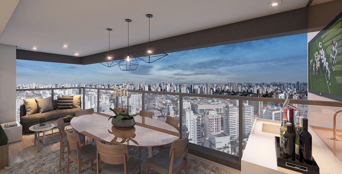 TERRAÇO do apto de 92 m² com guarda corpo em vidro, passagem gourmet e integração com o living.