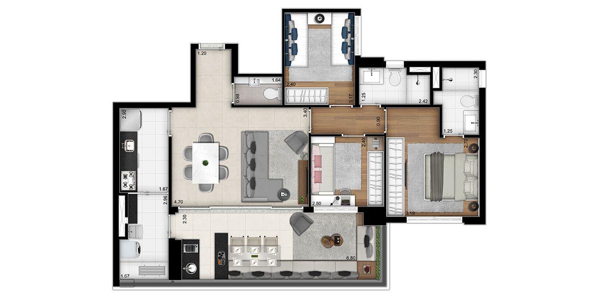 92 M² - 3 DORMS., SENDO 1 SUÍTE. Apartamento na Vila Madalena c/ lavabo, living integrado ao terraço entregue c/ ponto grill e tv, bancada em granito, cuba e metal. Possuí passagem gourmet e íntima.