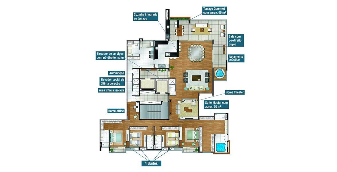 Planta do Suprême Residence. floorplan