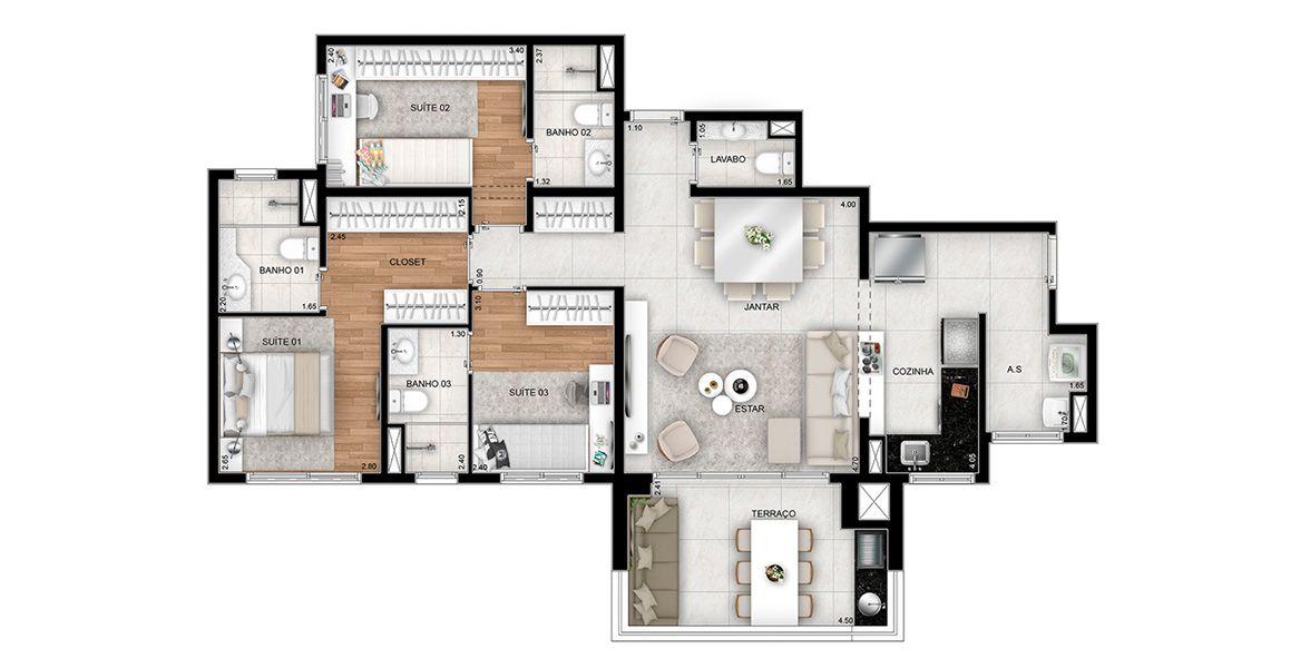 Planta do Le Quartier. floorplan