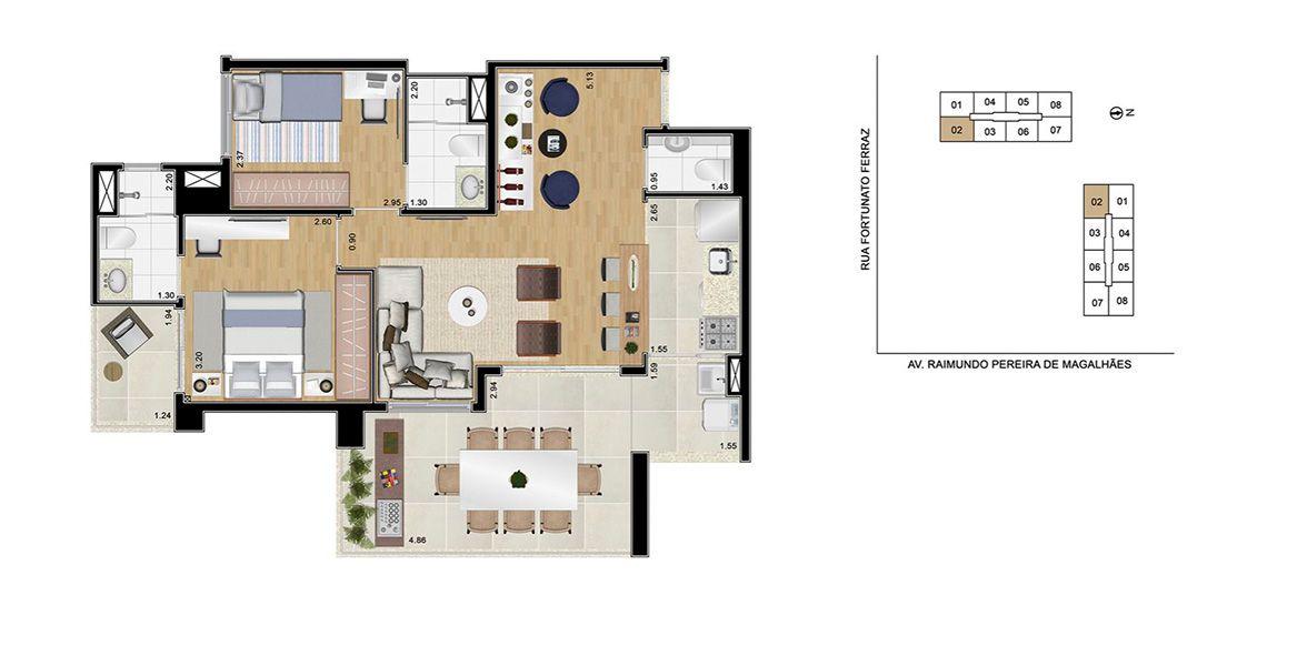 Planta do Caminhos da Lapa Home Club. floorplan