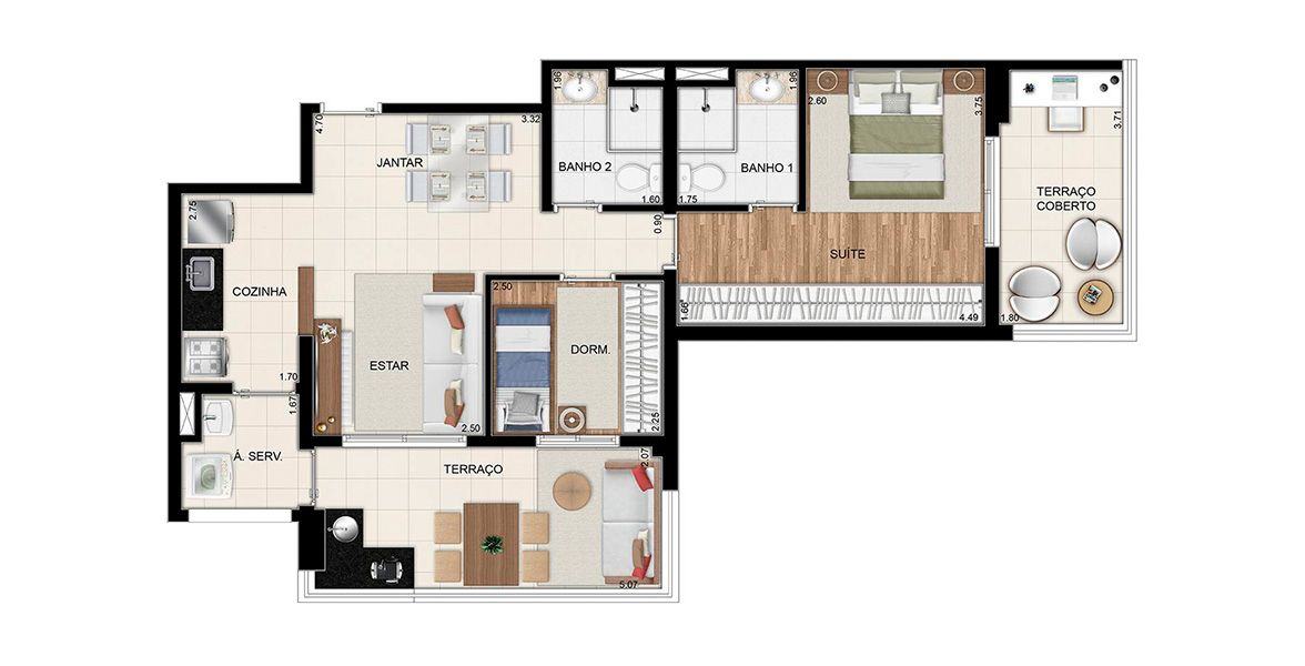 Planta do Urban Home Tatuapé. floorplan