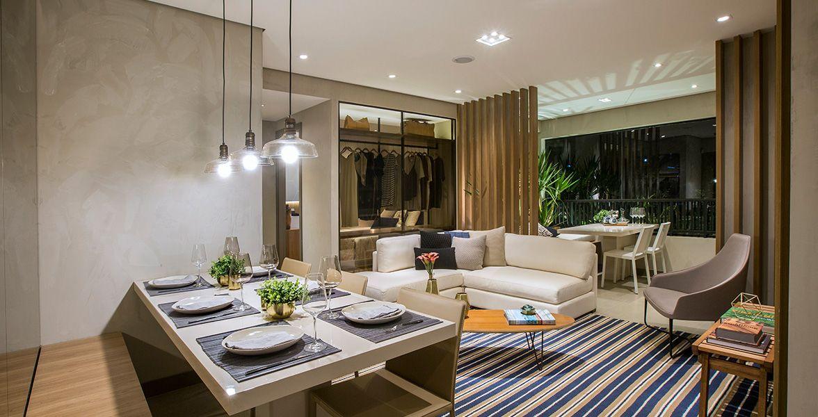 LIVING do apto de 71 m² totalmente integrado ao terraço gourmet com churrasqueira.