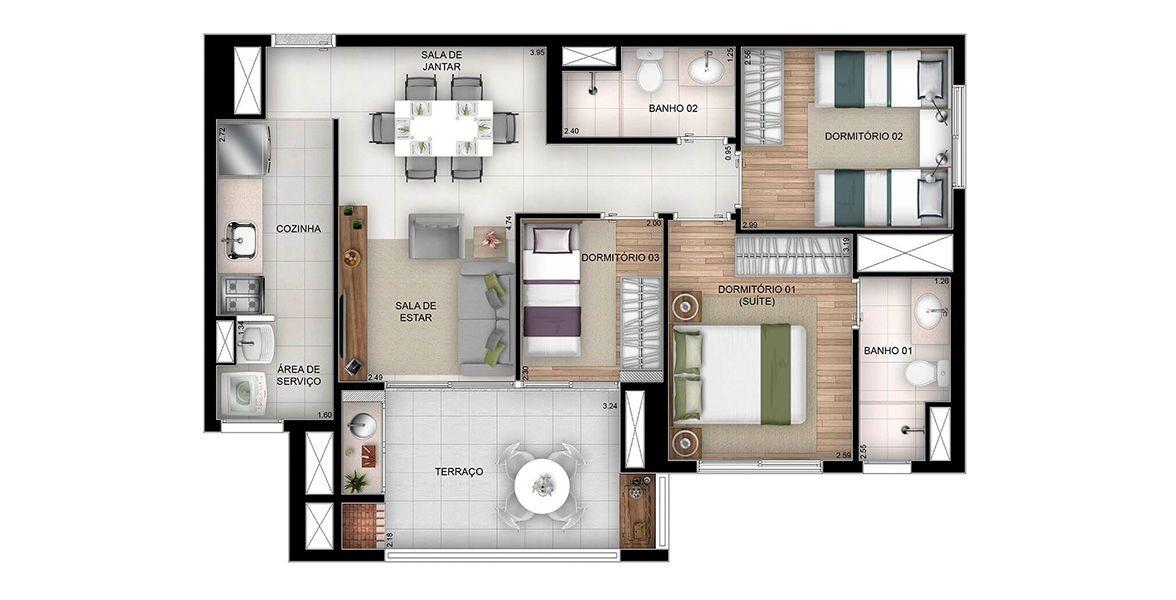 71 M² - 3 DORMITÓRIOS, SENDO 1 SUÍTE. Apartamentos no Brás com 1 suíte e amplas janelas para entrada de iluminação natural. Terraço gourmet com churrasqueira e mais de 3 metros de frente.