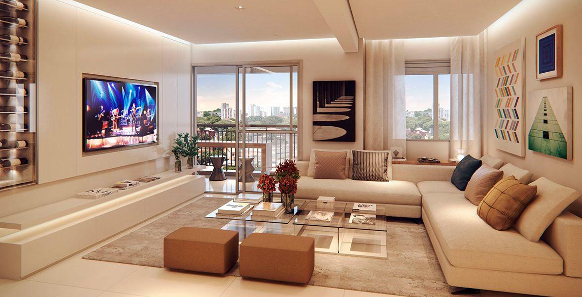 LIVING AMPLIADO do apto de 76 m² com mais de 5 metros. Integra-se ao terraço.