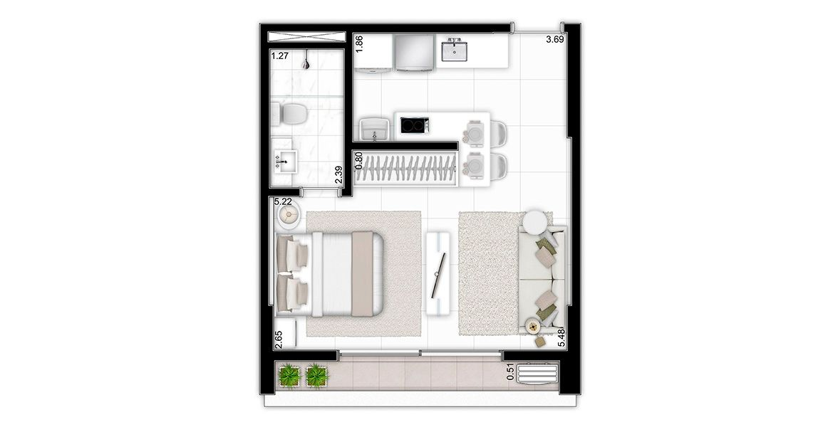 Planta do The Five Home. 34 M² - STUDIO.