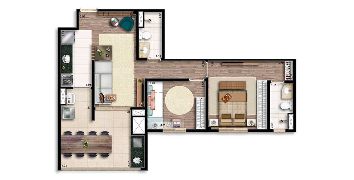 Planta do Living Wish Santo Amaro. floorplan