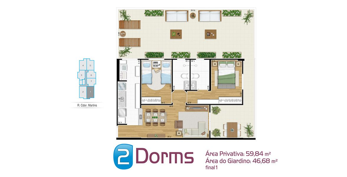 Planta do Inside Santos. floorplan