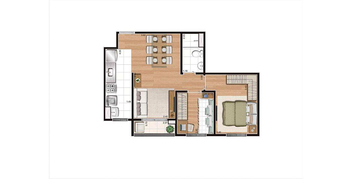 Planta do Living Family. floorplan