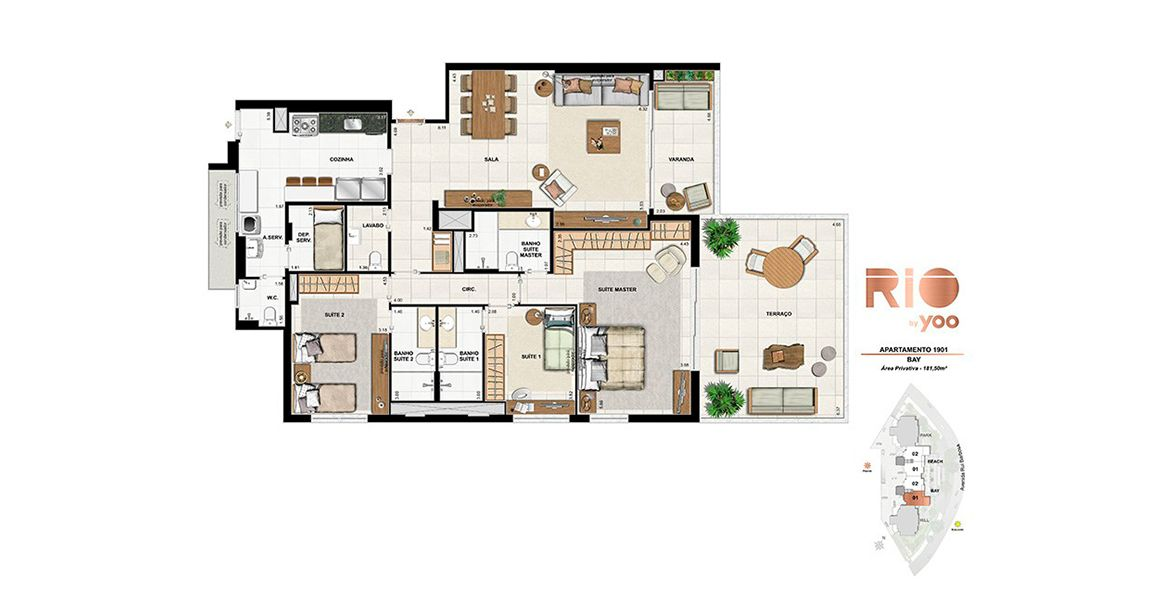 Planta do Rio By Yoo. floorplan