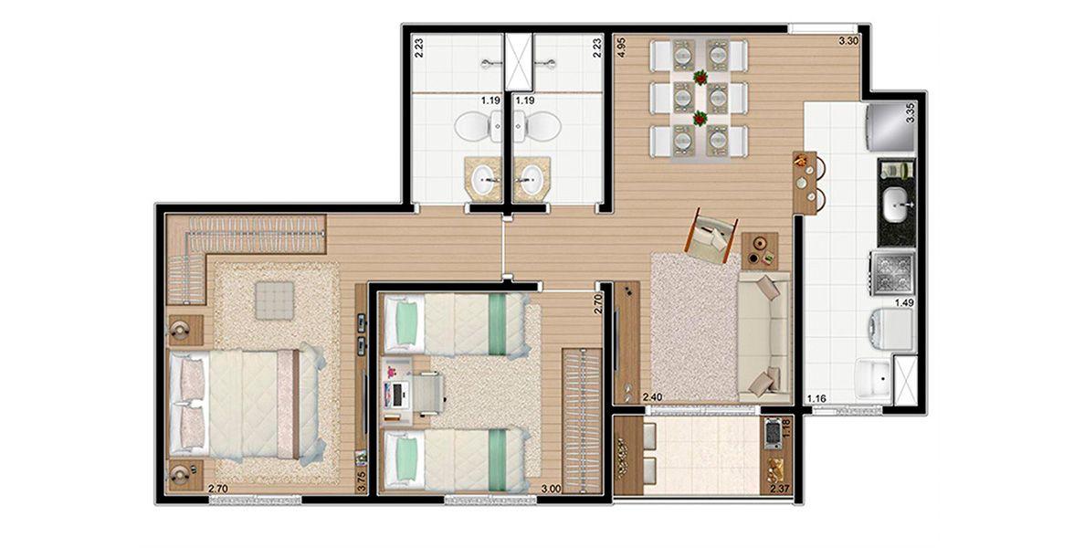Planta do Exclusive Campinas. floorplan