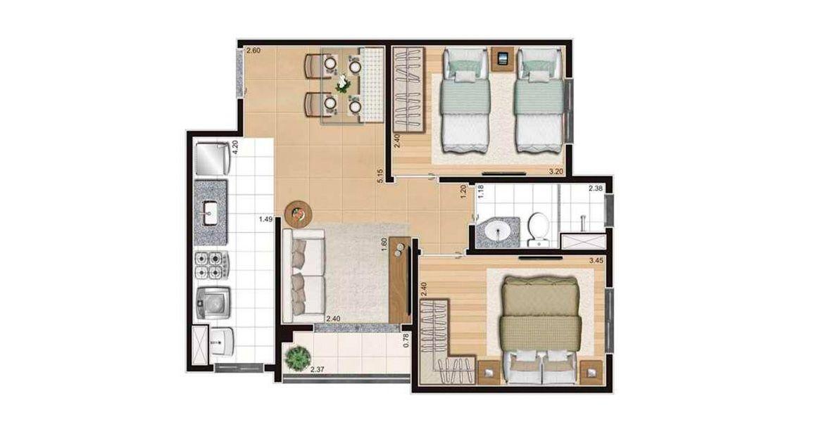 46 M² - 2 DORMITÓRIOS. Apartamentos no Cambuci com destaque para os amplos quartos com flexibilidade para 2 camas!