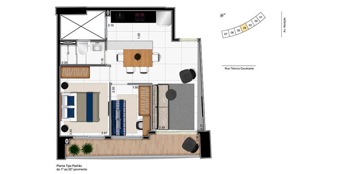 Planta do Helbor My Way Abolição. floorplan