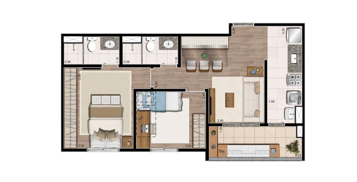Planta do Living Connect. floorplan