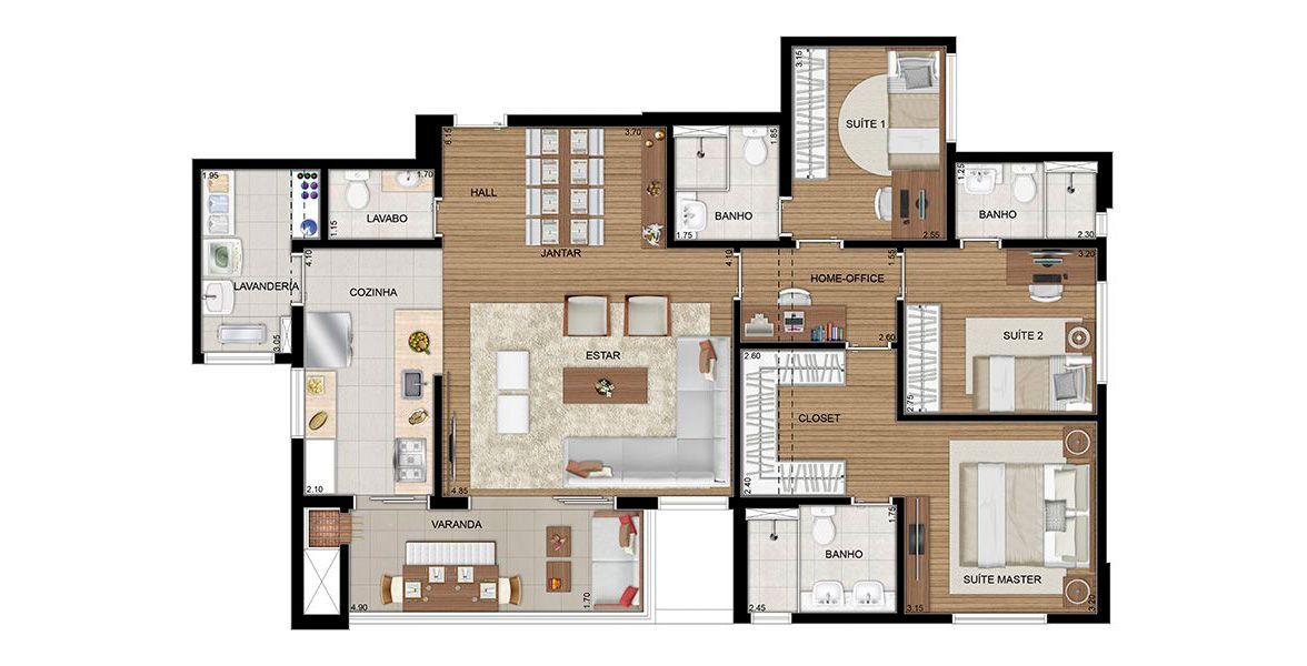 117 m² - 3 SUÍTES.