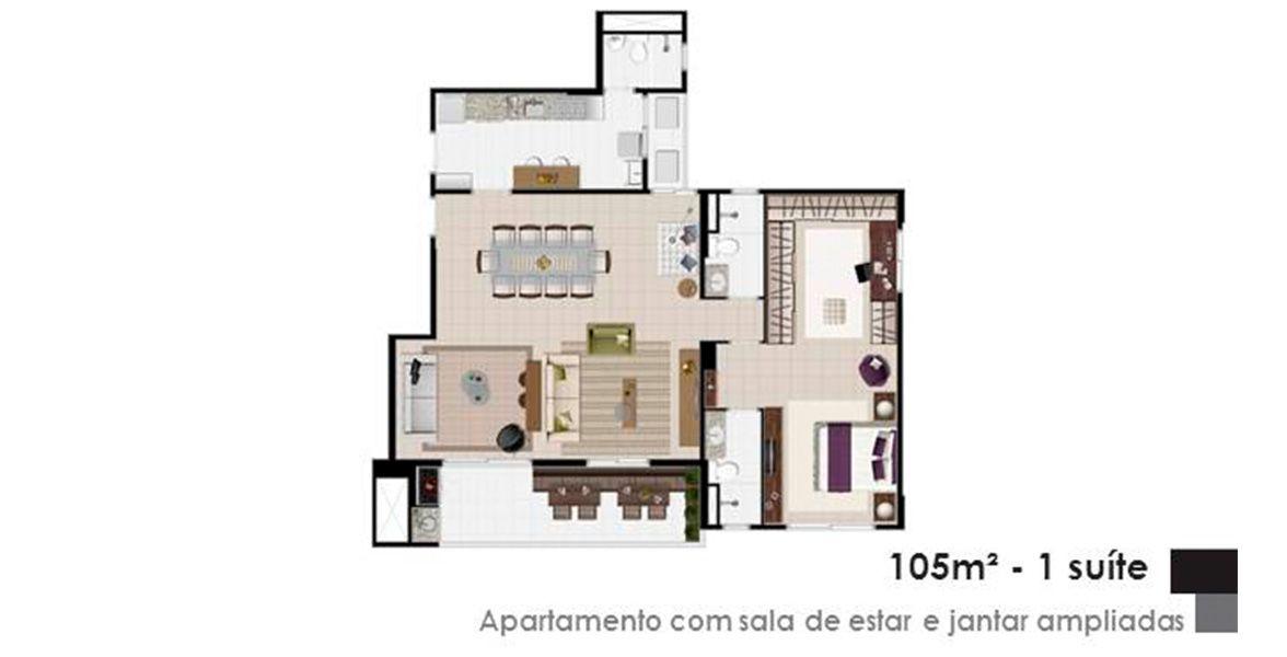 Planta do Spazio Dell´Acqua. 105 M² - 1 SUÍTE.