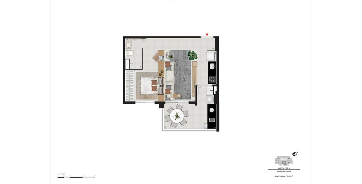 Planta do BKO Wave Perdizes. floorplan