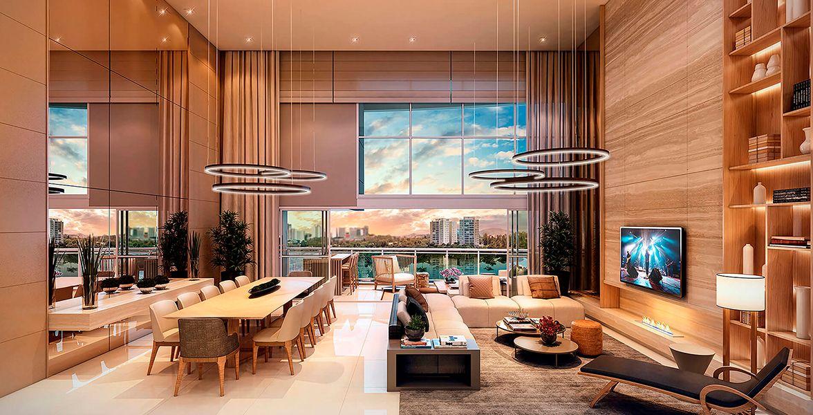 LIVING do apto de 335 m²  (pavimento par final 2) com pé-direito duplo do The Lake Gramercy Park