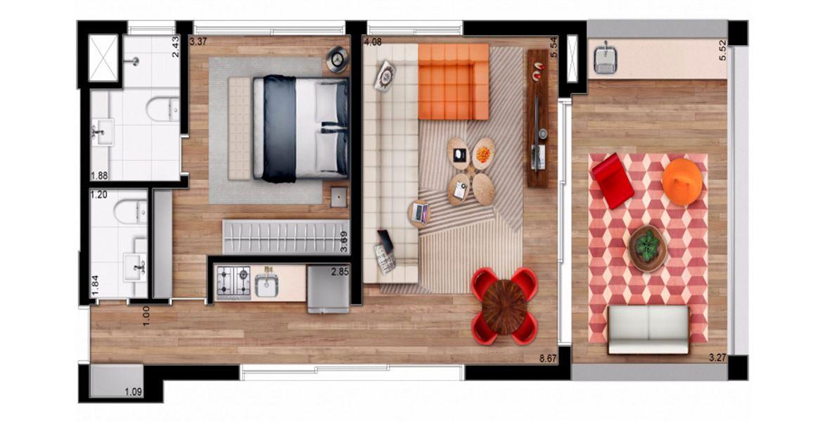 85 m² - 1 SUÍTE.