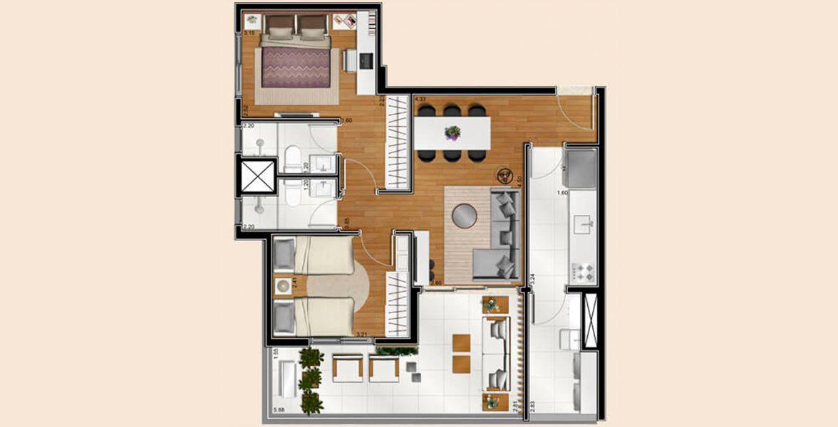 Planta do Vivier Residence. floorplan