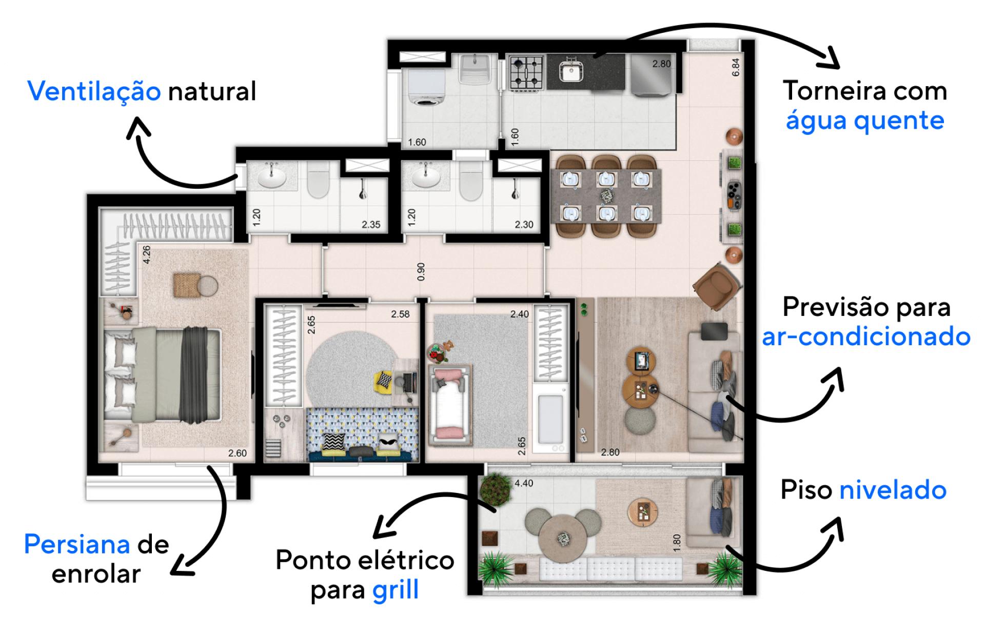 81 M² - 2 DORMITÓRIOS, SENDO 1 SUÍTE. Apartamentos no Ipiranga com confortáveis dormitórios. Destaque para a suíte que, além de persiana de enrolar e previsão para ar-condicionado, conta com amplo espaço para armários.