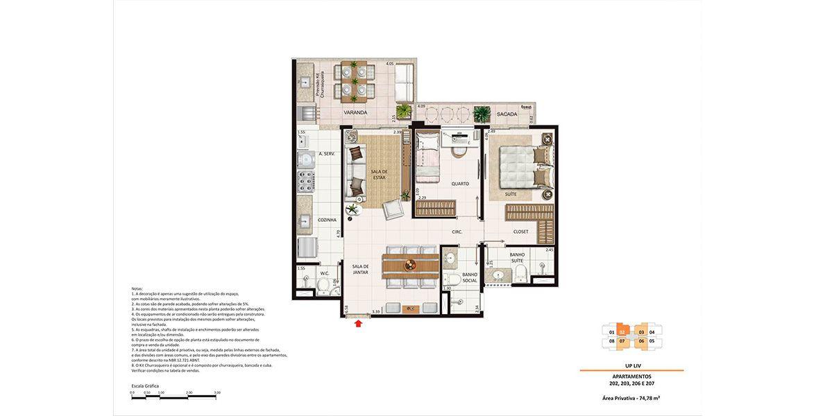 Planta do Liv Lifestyle Residence. 74 M² - 2 QUARTOS, SENDO 1 SUÍTE.