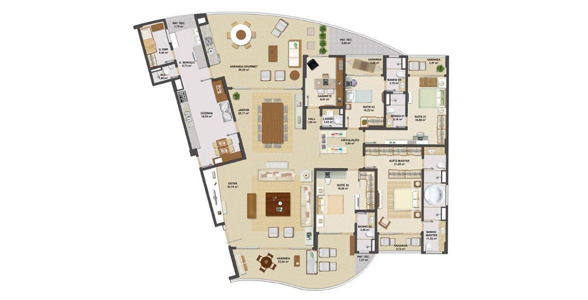 Planta do Orizon View Houses. 330 M² - 4 SUÍTES.