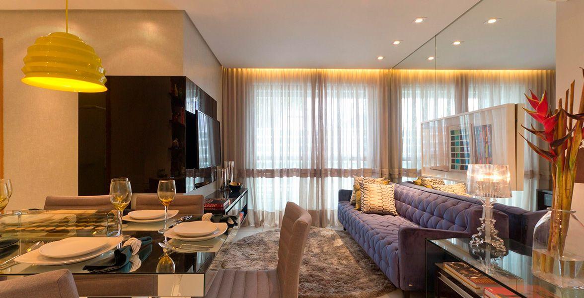 LIVING do apto de 62 m² do Maria Nina e Maria Nara